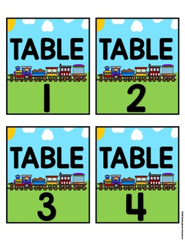 Editable Table and Center Signs-Train Theme