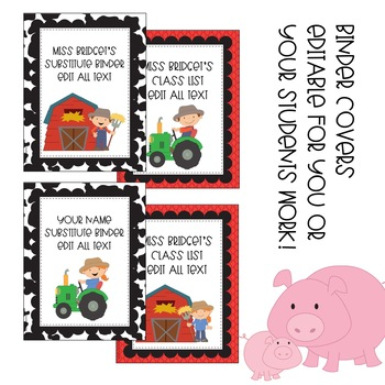 Editable Tags, Labels, Posters and Binder Covers Farm Themed