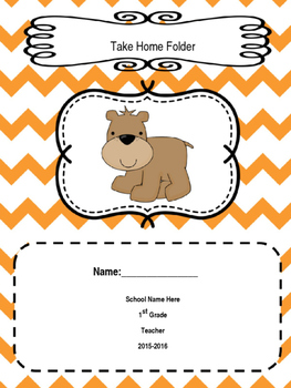 Editable Take Home Folder Cover Woodland Creatures -Orange/Yellow