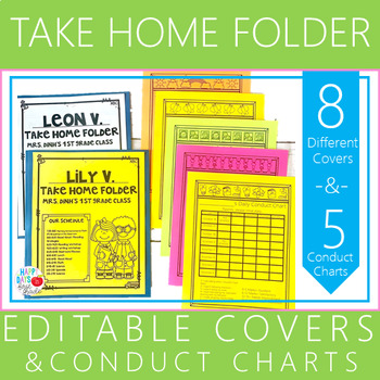 Editable Take Home Folder Covers and Conduct Charts