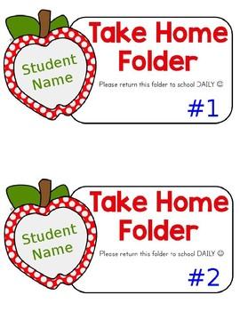 Editable Take Home Folder Labels