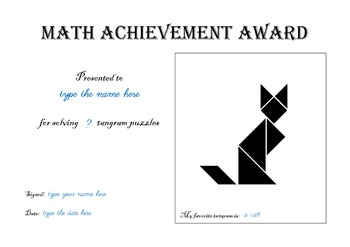 Editable Tangram Certificate / Diploma / Award - Cut and Paste