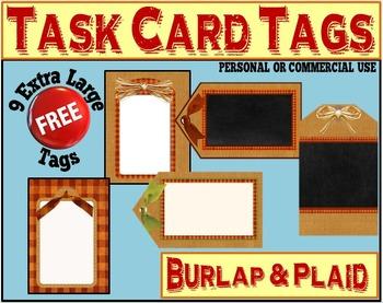 Editable Task Card Tags:  Burlap & Chalkboard + 9 FREE!