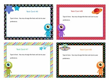 Editable Task Cards (Alien Theme)