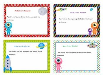 Editable Task Cards (Alien Theme)