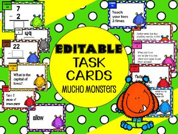 Editable Task Cards - Mucho Monsters