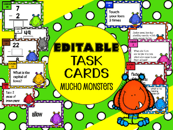Editable Task Cards - Mucho Monsters