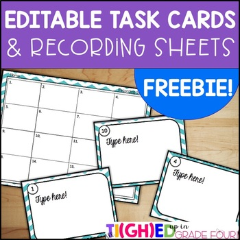 Editable Task Cards and Recording Sheets FREEBIE
