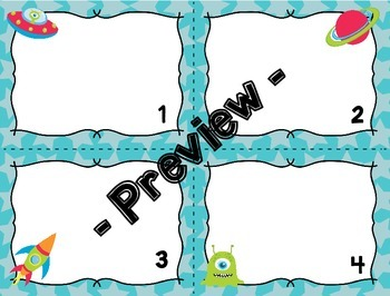 Editable Task or Flash Cards- SPACE ALIENS Template Blank to Make Your Own