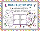 Editable Task or Flash Cards- NUMBER SOUP Template Blank t