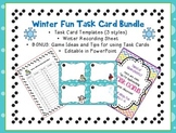 Editable Task or Flash Cards- WINTER FUN Template Blank to Make Your Own