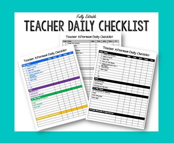 Editable Teacher Afternoon Checklist