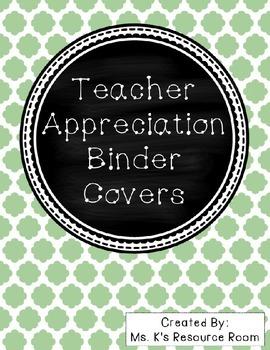 *Editable* Teacher Appreciation Binder Covers