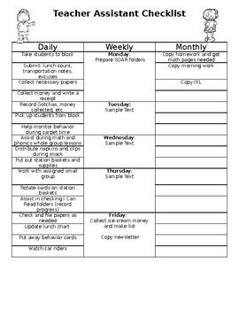 Editable Teacher Assistant / Paraprofessional Checklist