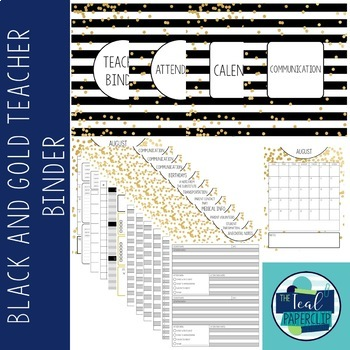 Editable Teacher Binder 17-18: Black and Gold Confetti