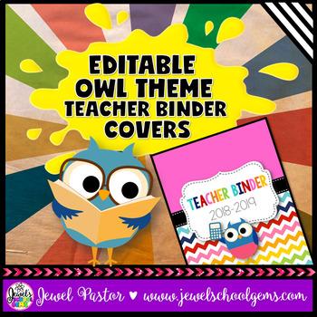 Owl Theme Teacher Binder Covers (Editable)