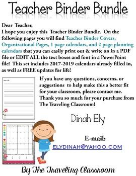 Editable Teacher Binder Planner 2017 2018 2019  {Watercolor Theme}