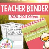 Teacher Binder Editable 2020-2021