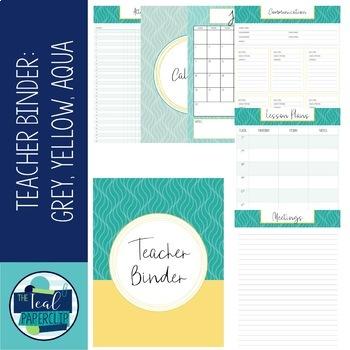 Editable Teacher Binder 18-19 Grey, Yellow, Aqua