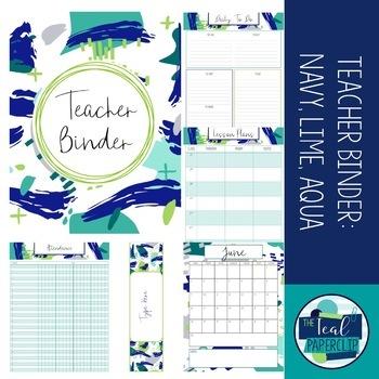 Editable Teacher Binder 2016 - 2017: Navy, Lime, and Aqua