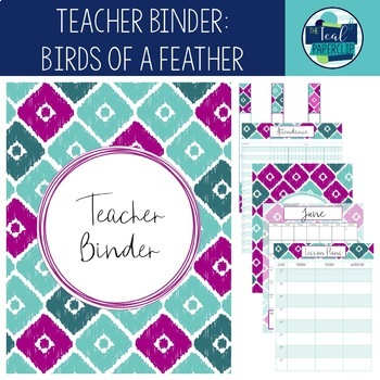 Editable Teacher Binder 17-18: Teal, Magenta, Aqua