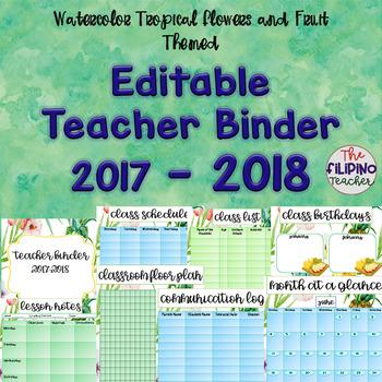 Editable Teacher Binder 2017 - 2018