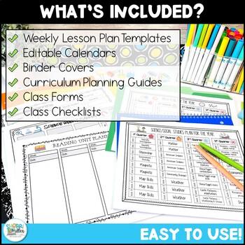 Editable Teacher Binder BUNDLE – Click, Type, Print Templates!
