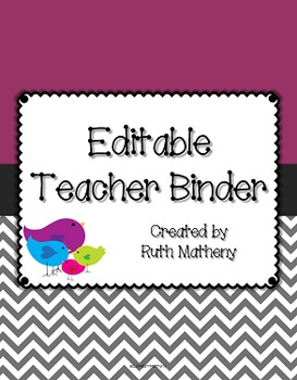 {Editable Teacher Binder} Bird Theme with Purple Background