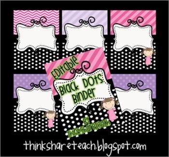 Editable Teacher Binder Black Dots