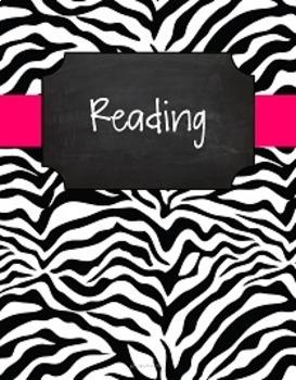 {Editable Teacher Binder} Black & White Zebra Chalkboard with Pink Ribbon
