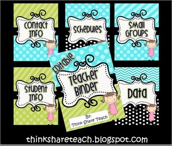 Editable Teacher Binder Blue Green