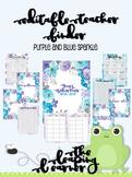 Editable Teacher Binder - Blue, Purple, Silver Floral Sparkle