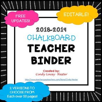 Editable Teacher Binder & Plan Book Bundle - Chalkboard