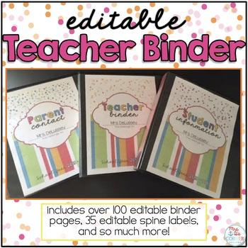 Editable Teacher Binder { Confetti Brights } Ultimate Teacher Survival Binder