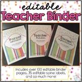 Editable Teacher Binder { Confetti Brights } Ultimate Teac