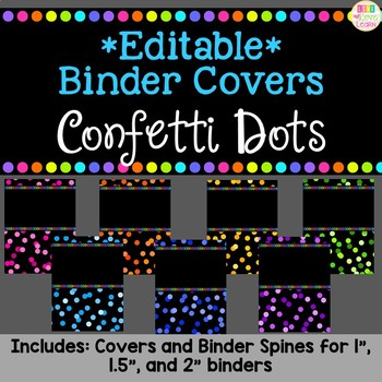 editable teacher binder cover spines confetti dots tpt