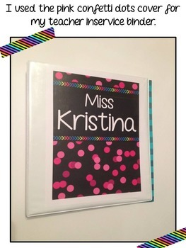 *Editable* Teacher Binder Cover & Spines - Confetti Dots