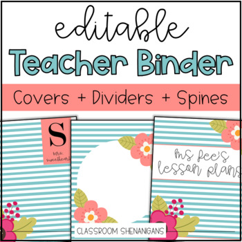 Editable Teacher Binder Cover and Spines {Teal and Coral Floral Design}
