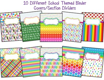 *Editable* Teacher Binder Covers & Spines - School Themed