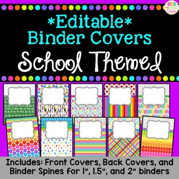 *Editable* Teacher Binder Covers & Spines - School Themed