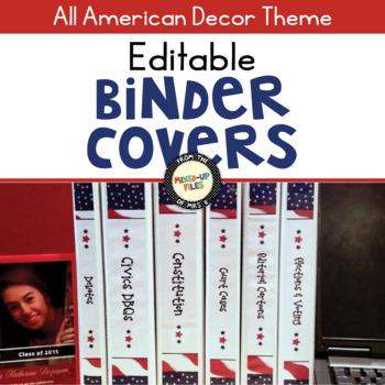 Patriotic Editable Binder Covers