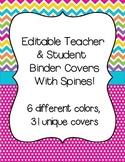 Editable Teacher Binder Covers: Polka dot and Chevron Brights