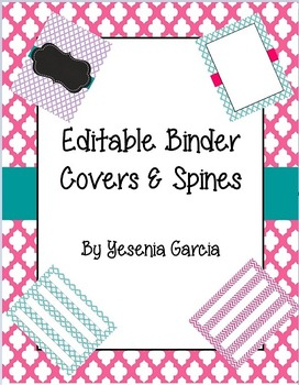 Editable Teacher Binder Covers & Spines - Chevron and Quatrefoil