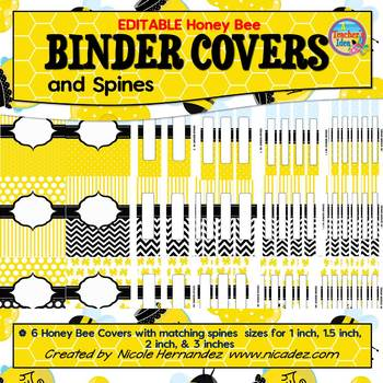 Binder Covers and Spines {EDITABLE Bee Themed}
