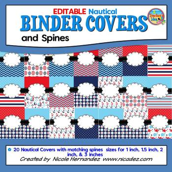 EDITABLE Binder Covers and Spines {Nautical Themed}