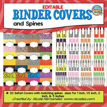 Binder Covers {EDITABLE Safari Themed}