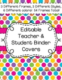 Editable Teacher Binder Covers: Stripes, Squares, and Polk