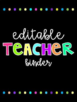 Editable Teacher Binder Covers and Inserts