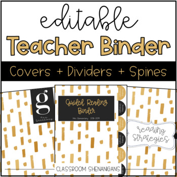 Editable Teacher Binder Covers and Spines {Gold & Black Design}