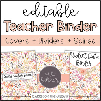 Editable Teacher Binder Covers and Spines {Pretty in Spring Flowers Design}